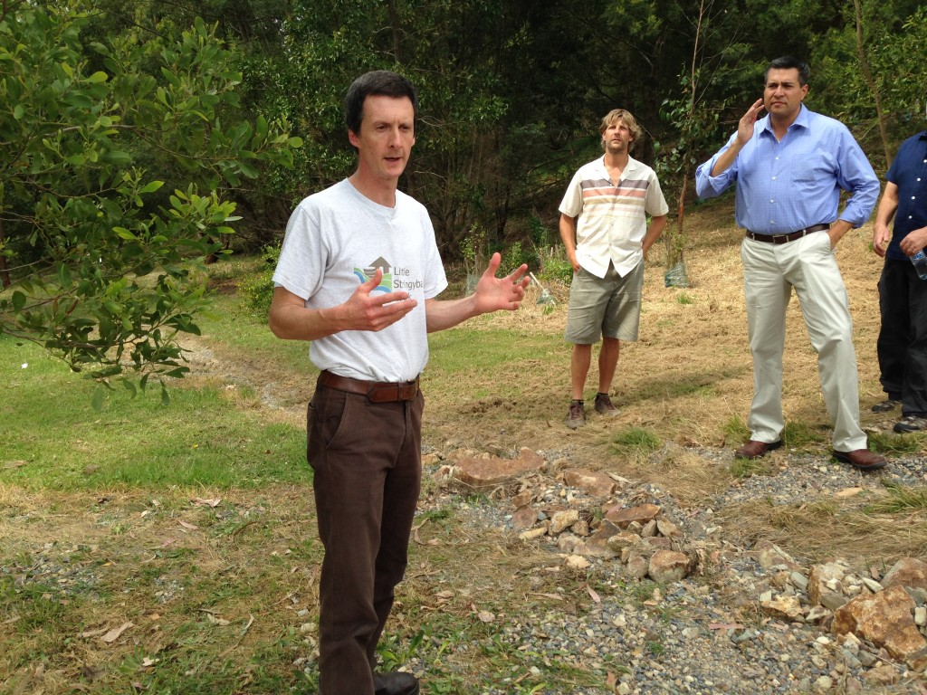 Tim Fletcher, University of Melbourne speaks on the variety of Green Infrastructure projects implemented in the Little Stringybark watershed. Looking on is Felipe Fuentes, the City of L.A. and Darren Bos, University of Melbourne.
