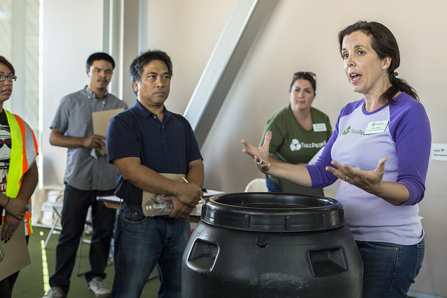 TreePeople Director of Sustainable Solutions, Lisa Cahill leading a rainwater harvesting class at LA Councilman Felipe Fuentes' off ice Pacoima