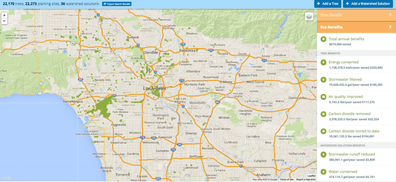 The tree map of Los Angeles includes specific environmental and economic benefits of each recorded tree.