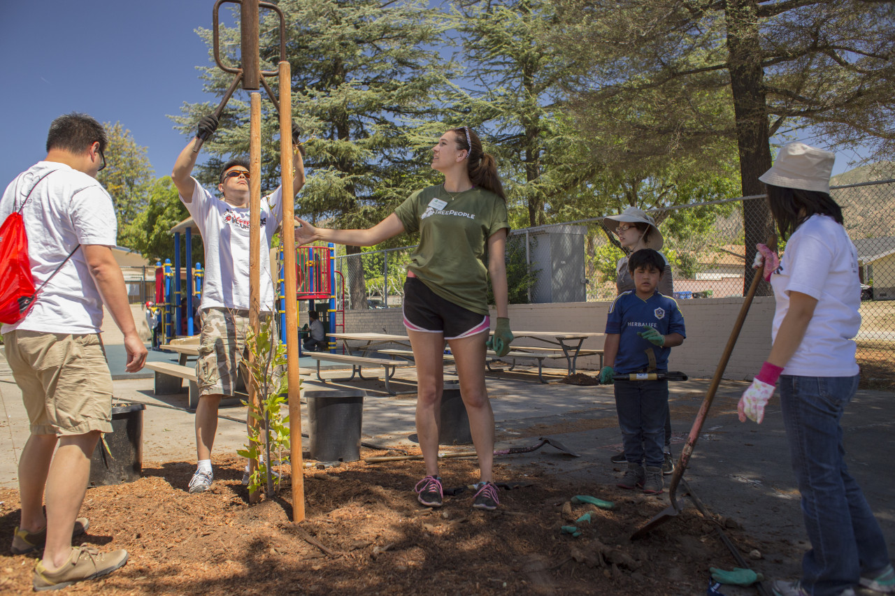 Volunteer Supervisor Arianna Yunker oversees a tree planting.