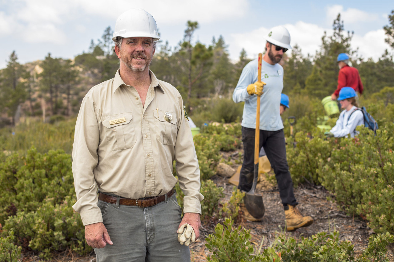 Dan McDonnell (left) is a long-term Volunteer Supervisor with TreePeople and the Forest Service .