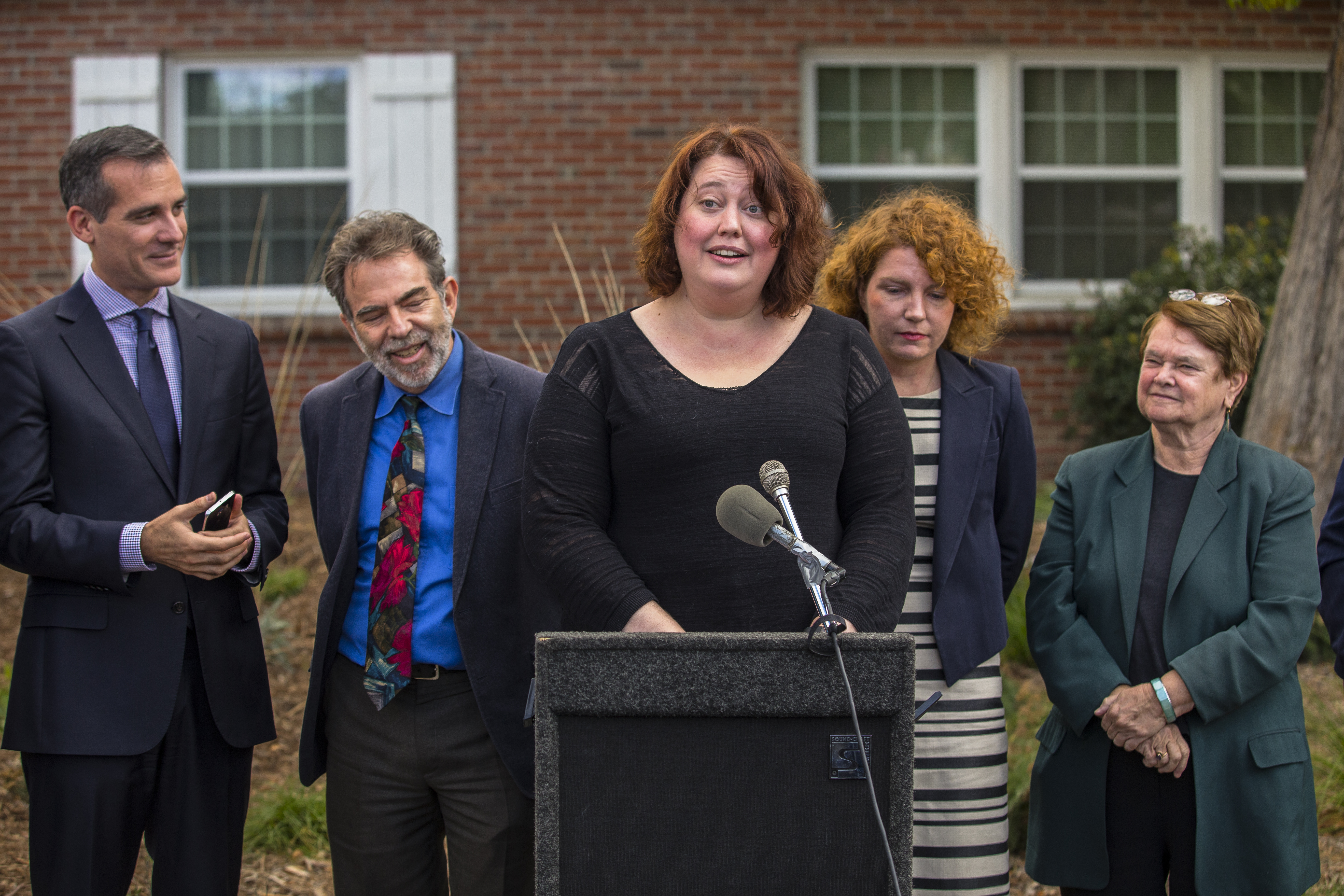 Homeowner Carrie Wassenaar at the #LAStormCatcher press conference