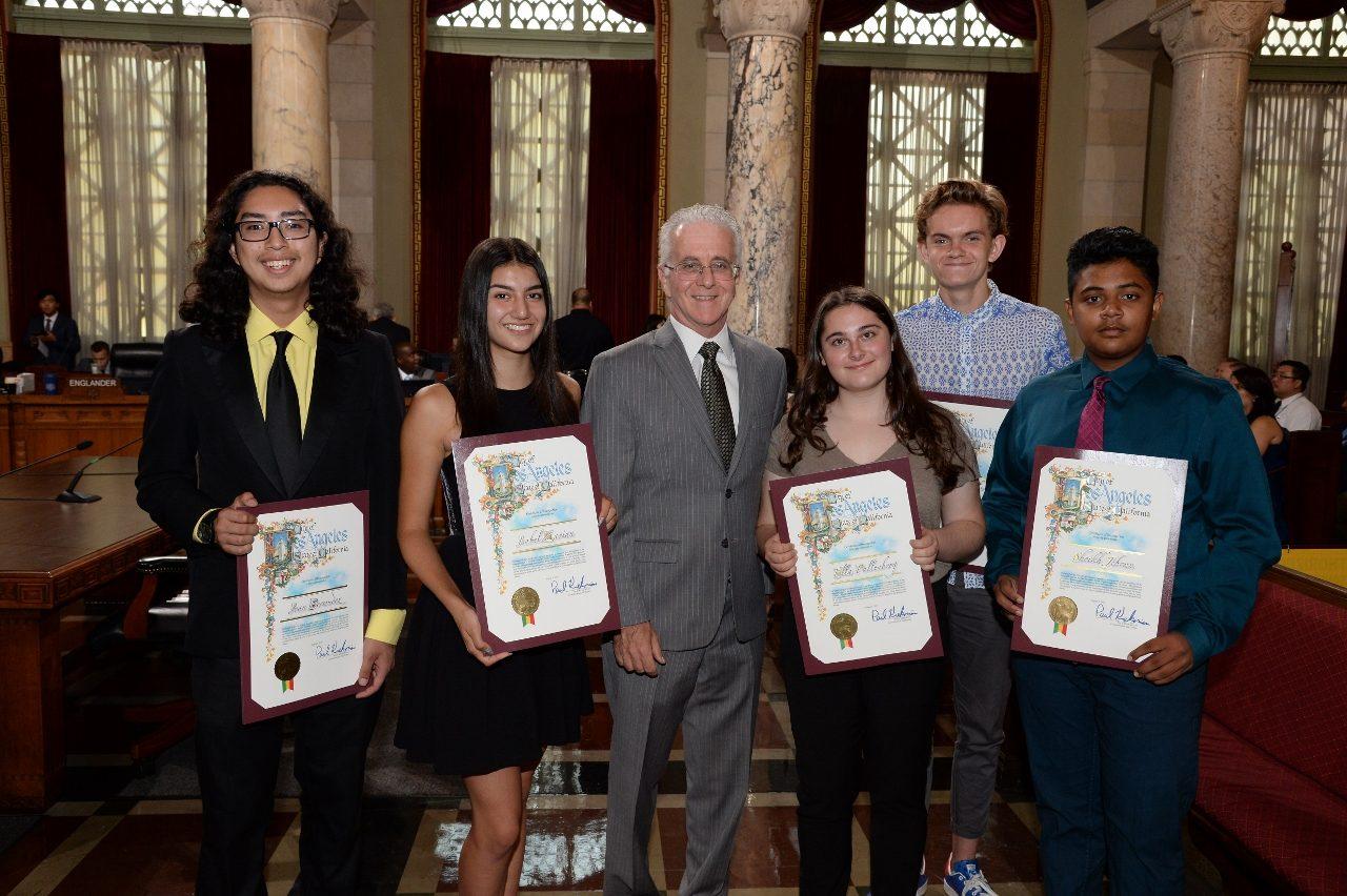 Isabel, Councilmember Krekorian and the rest of the inaugural class celebrating the end of the summer program.